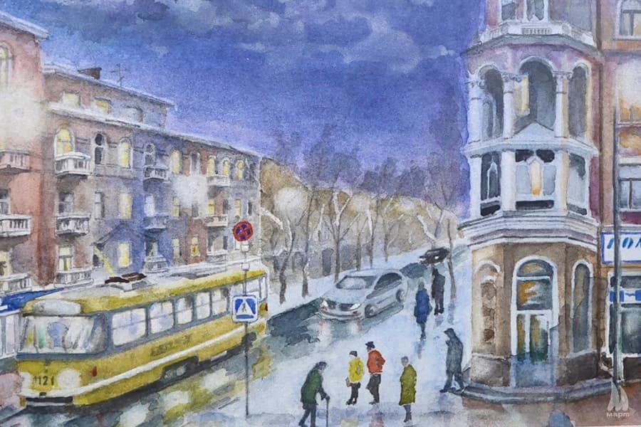 Трамвайчик по Потьомкінській: у бібліотеці Кропивницького триває виставка Сергія Луньова